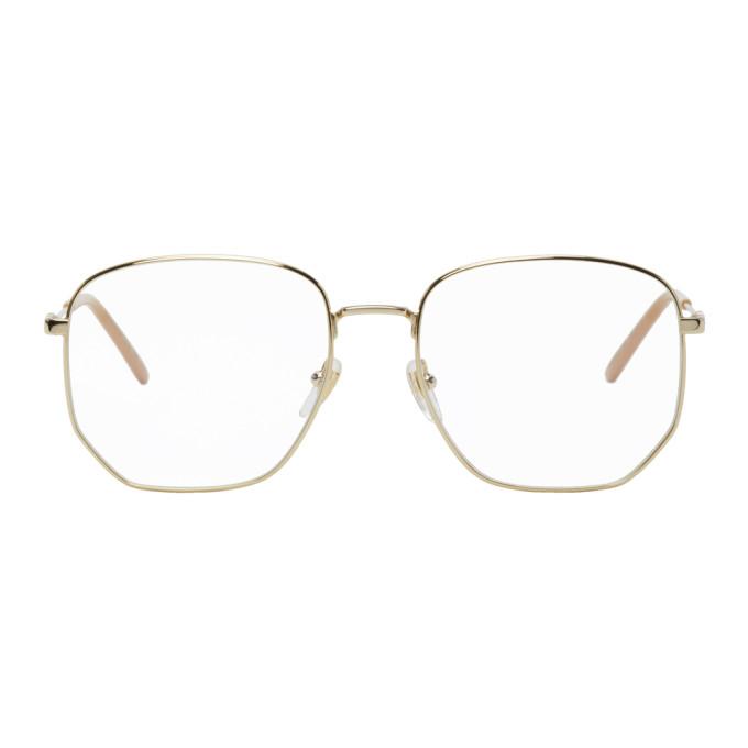 Gucci 金色方框眼镜