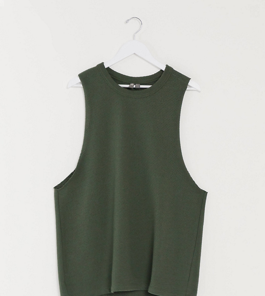 ASOS DESIGN Tall relaxed sleeveless t-shirt with dropped armhole in khaki heavyweight textured fabri
