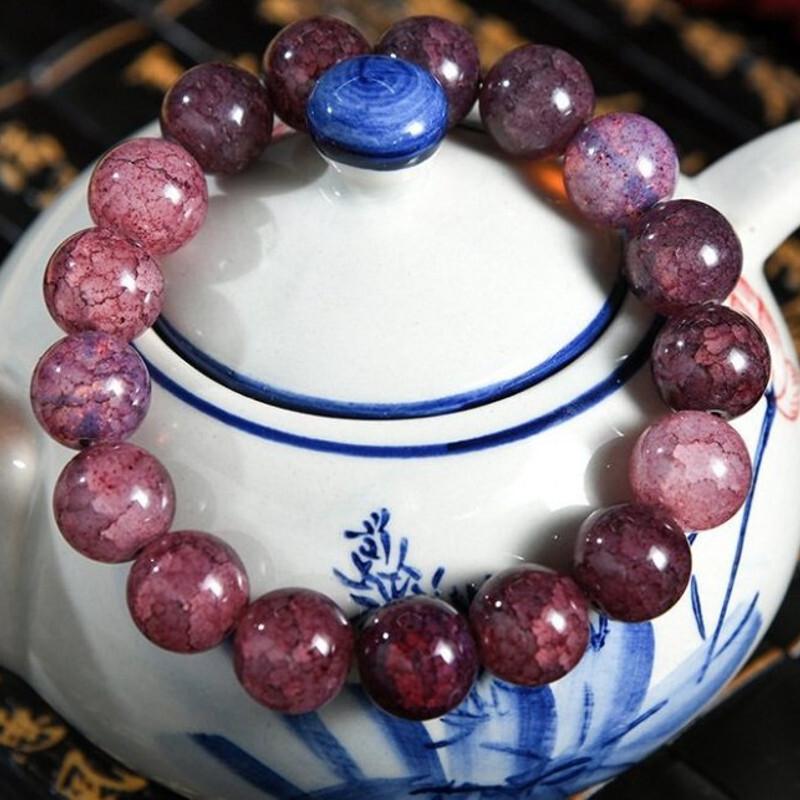 深茶紫 12mm爆花水晶手串手環(附開光證明)