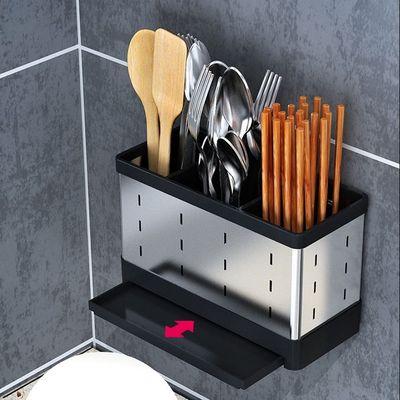 廚房筷子筒 不銹鋼筷子簍掛式廚房免打孔筷子筒家用創意瀝水筷子籠收納盒架 『MY5810』