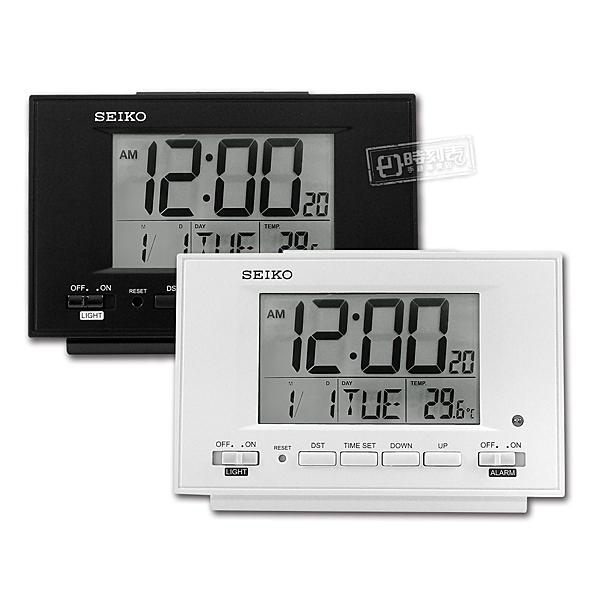 SEIKO 精工 / 自動感光 溫度 日期 貪睡鬧鈴 長方形鬧鐘 電子鐘 - 白/黑 #QHL075