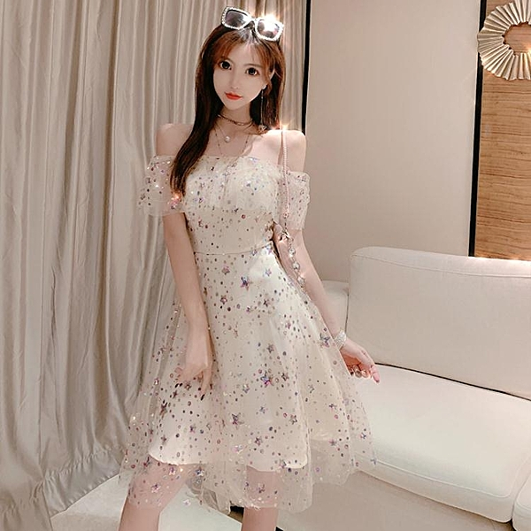 宴會晚禮服女新款生日派對連衣裙短款洋裝小禮服名媛彩色亮片 聖誕節全館免運