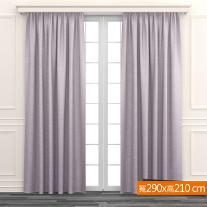特力屋 格紋全遮光窗簾 寬290x高210cm 紫色