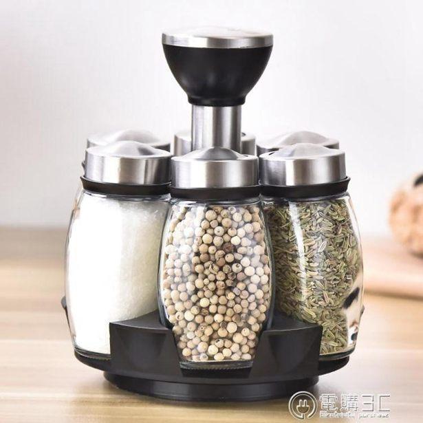 歐式玻璃旋轉調料瓶調料罐套裝創意廚房家用密封防潮佐料盒調味瓶全館特惠限時促銷