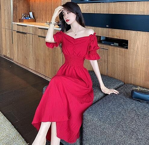 洋裝 巨棉氣質女神范2020年新款夏天紅色洋裝復古赫本風長裙小紅裙子