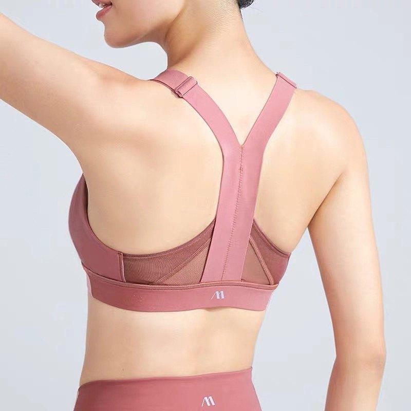 【MAIA】 拼紗美背 肩帶可調節 高強度防震跑步 運動內衣 BR014