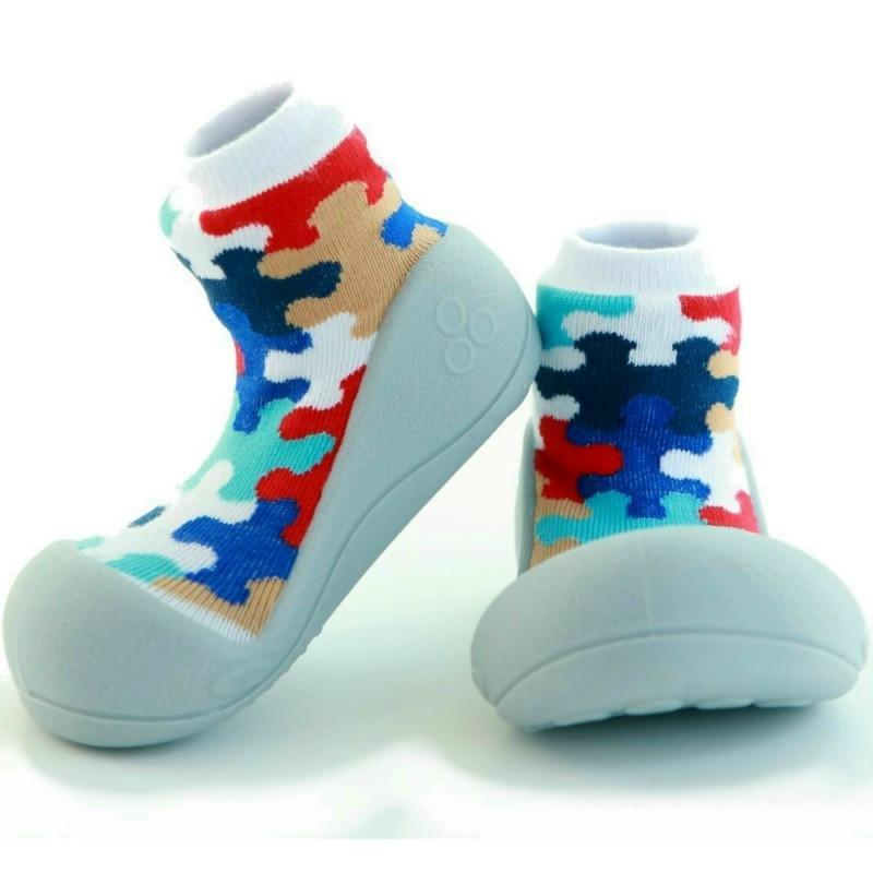 快樂學步鞋-灰底拼圖- M