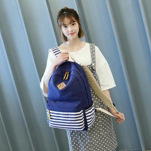 【米蘭精品】後背包帆布手提包(三件套)-條紋拼接時尚輕盈男女包包2色73ya33