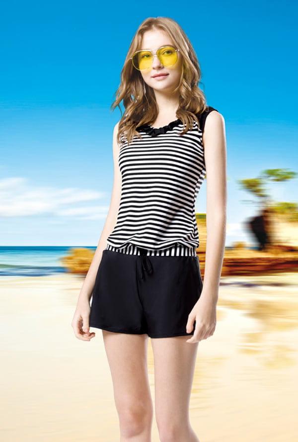大女黑白橫條荷葉綴領連身褲二件式泳衣  贈泳帽  M7469