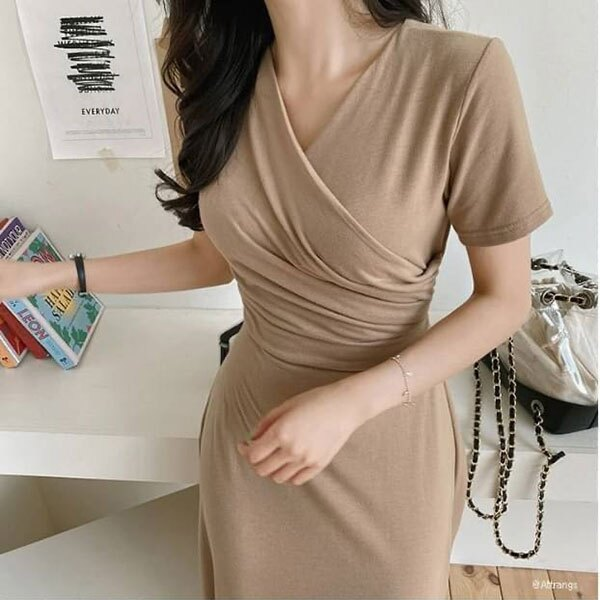 ANNAS 正韓 素面 綁帶 洋裝 短袖 連身裙 長裙 長洋裝 棉質 顯瘦 腰身 韓國