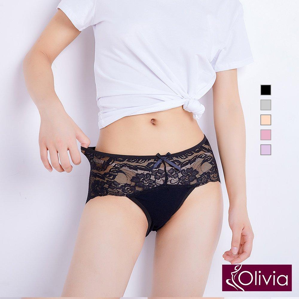 【Olivia】優雅蕾絲舒適中腰三角內褲-黑色