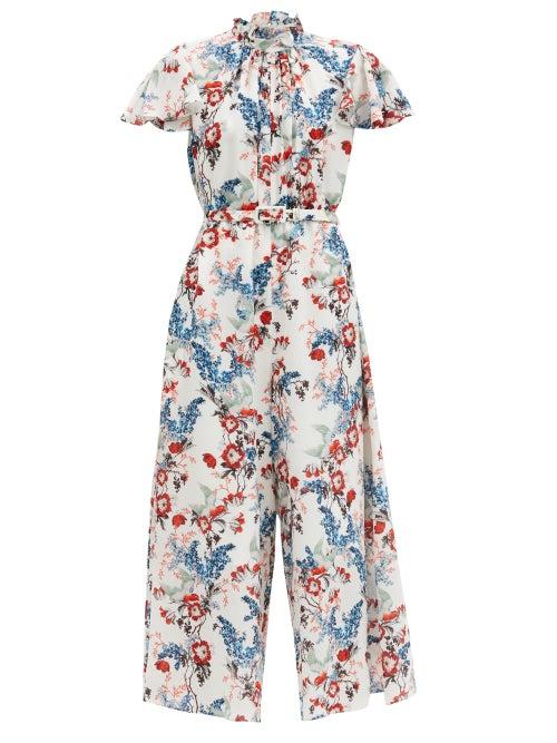 Erdem - Ellamay Belted Bird Blossom-print Silk Jumpsuit - Womens - White Print