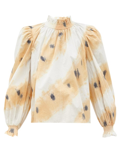 Sea - Tamara Tie-dyed Shirred Cotton Blouse - Womens - White Multi