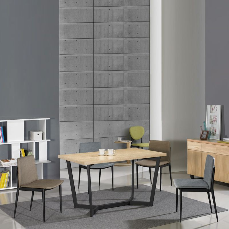 【FA889-3】歐丁4.3尺栓木本色黑腳餐桌