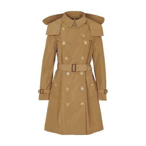 Detachable Hood Taffeta Trench Coat