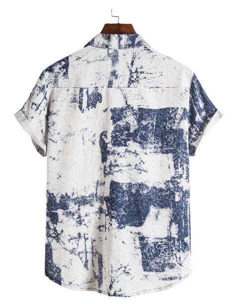 FINDSENSE X  男士 薄款 棉麻 西裝領 短袖 襯衣 休閒襯衫