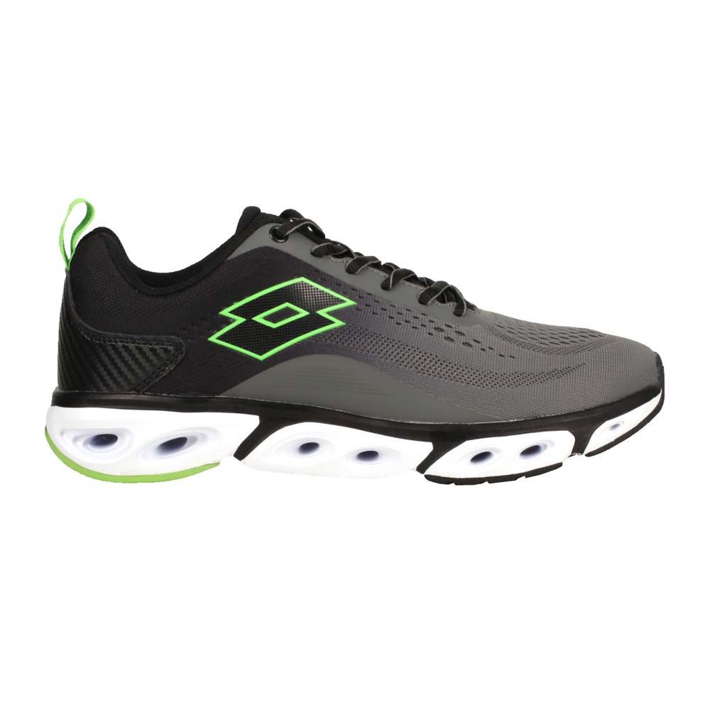 LOTTO 男風動慢跑鞋-路跑 運動 健走鞋 避震 透氣 灰黑綠