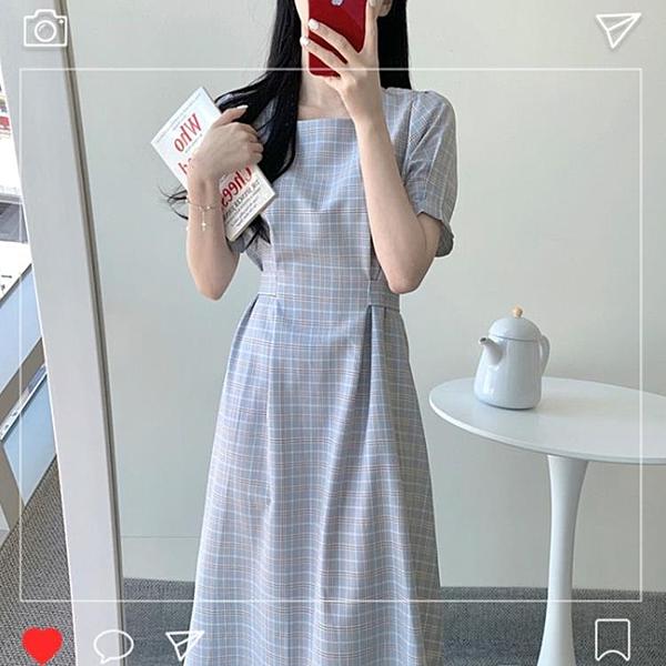 洋裝 夏裝2020年新款氣質小香風方領洋裝子法式小眾大碼女裝胖mm顯瘦