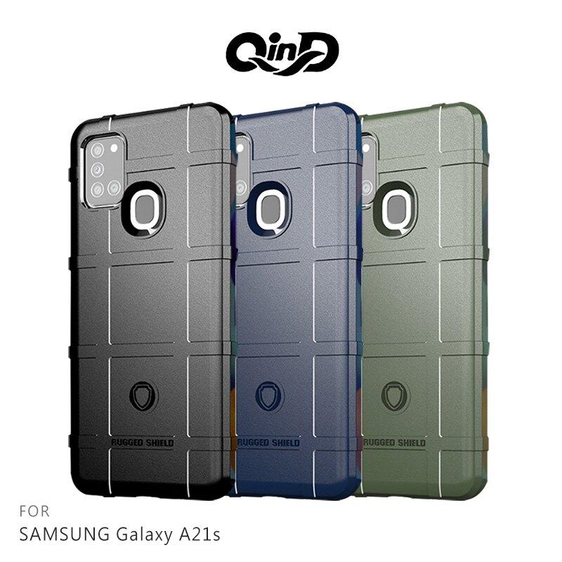 強尼拍賣~QinD SAMSUNG Galaxy A21s 戰術護盾保護套 鏡頭加高 保護套 手機殼