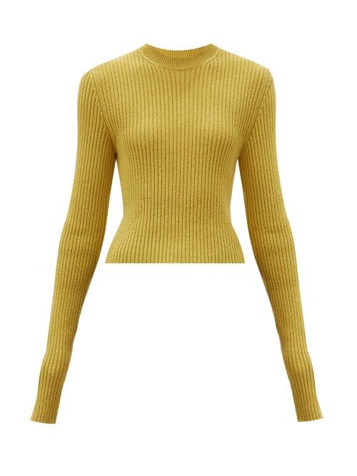 Bottega Veneta - Elongated-sleeve Ribbed Sweater - Womens - Yellow