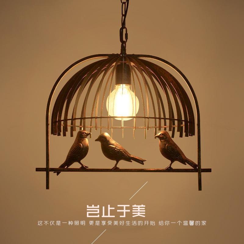 【華燈惠】led吊燈鐵藝餐廳吊燈個性創意三頭小鳥復古酒吧loft工業風燈飾美式吊燈具
