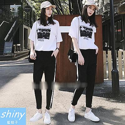 【V8145-1】shiny藍格子-瑕疵特賣.黑白配色短袖上衣長褲兩件式套裝