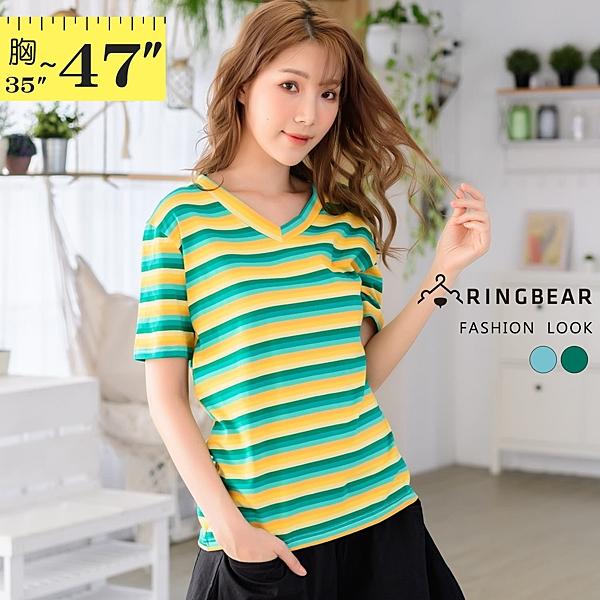 短袖T恤--百搭休閒亮眼漸層撞色條紋V領短袖棉T(藍.綠M-3L)-T425眼圈熊中大尺碼