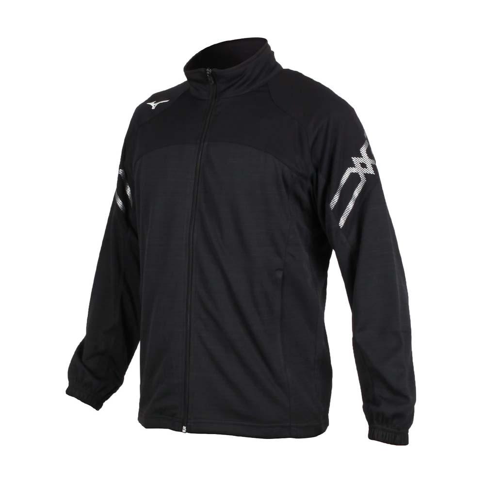 MIZUNO 男針織運動外套-立領外套 慢跑 路跑 美津濃 抗UV 吸汗速乾 黑白銀