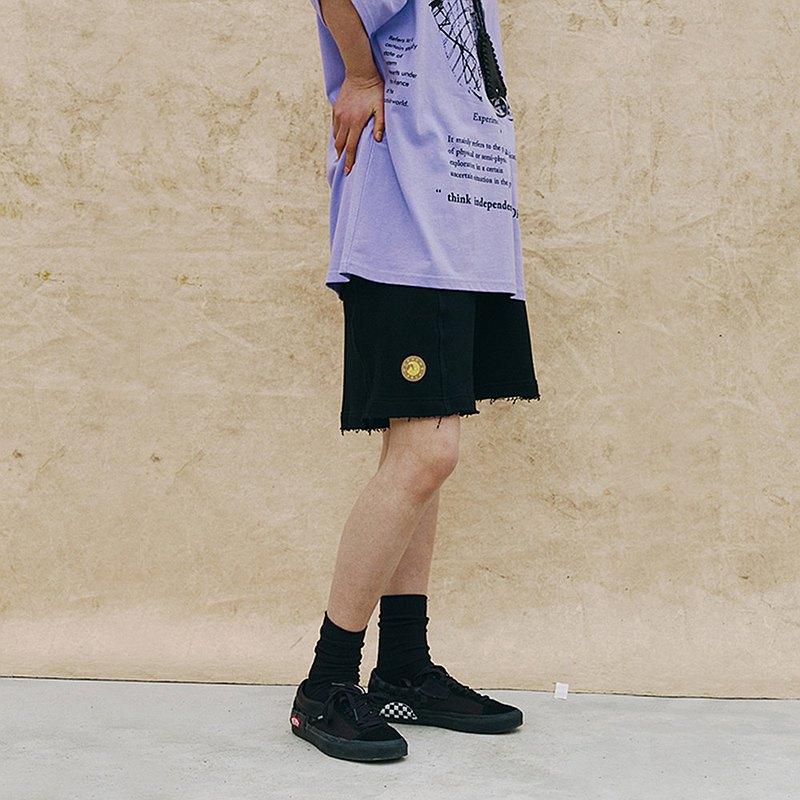MOKACME 拼接設計散口毛邊短褲情侶裝