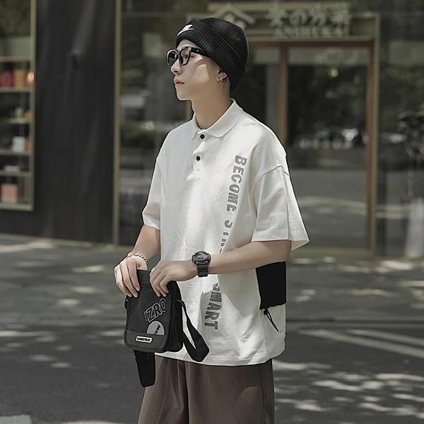 夏季拼接印花短袖POLO衫男士翻領半袖寬鬆休閒體恤衫