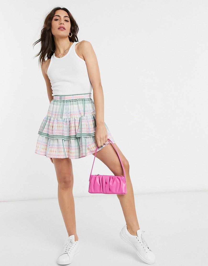 ASOS DESIGN ruffle mini skirt in check print-Multi