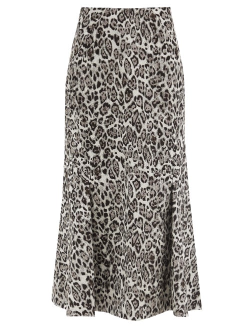 Erdem - Ivetta Leopard-jacquard Cotton-blend Skirt - Womens - Light Grey