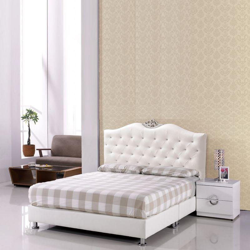 【FA582-1】貴族5尺米白皮雙人床