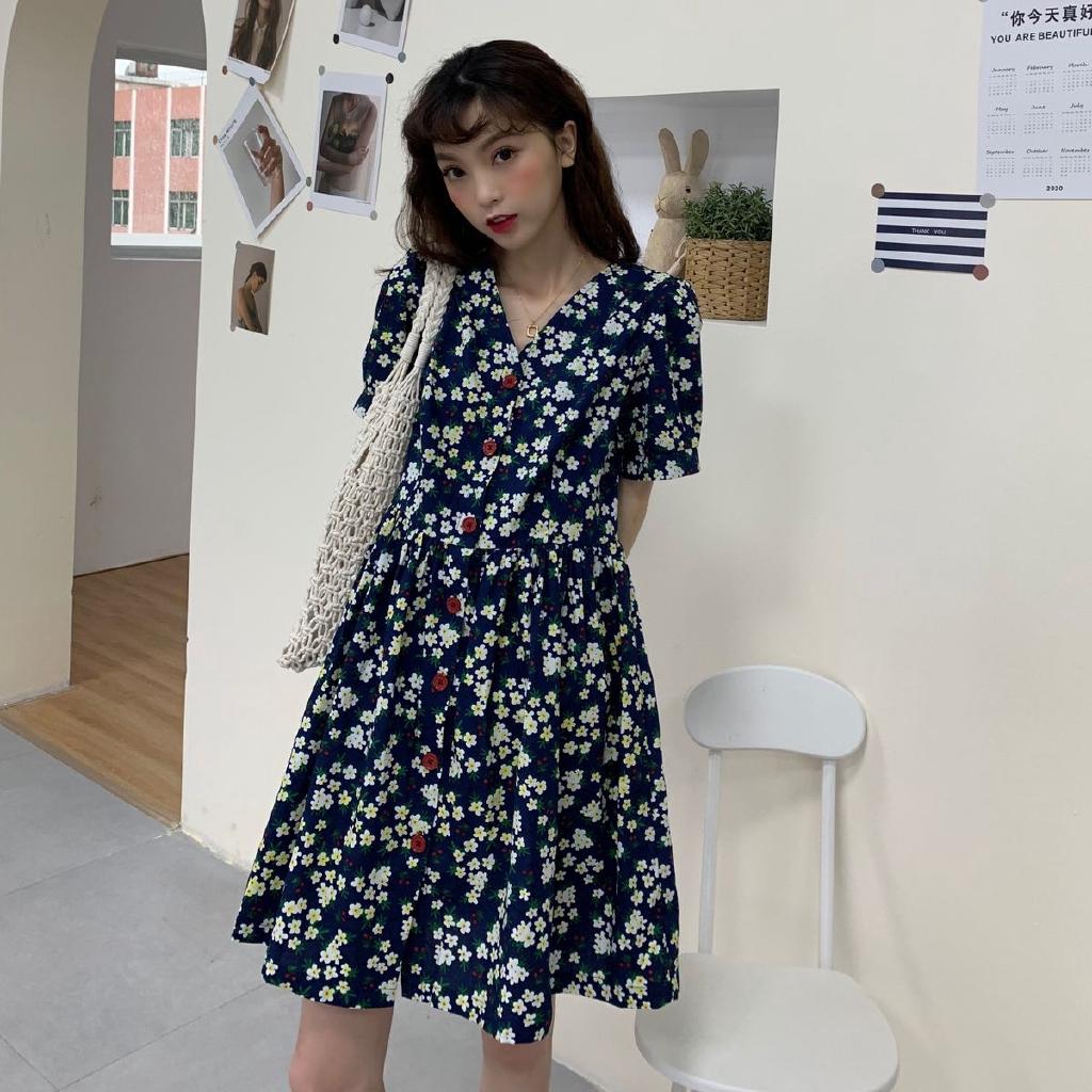 [免運]V領短袖洋裝 236646韓系百搭時尚法式碎花女