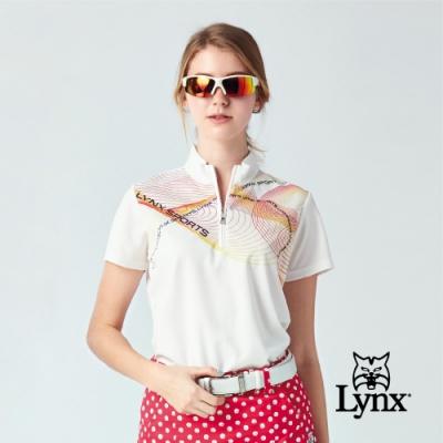 【Lynx Golf】女款吸濕排汗網眼材質半身曲線短袖立領POLO衫-白色
