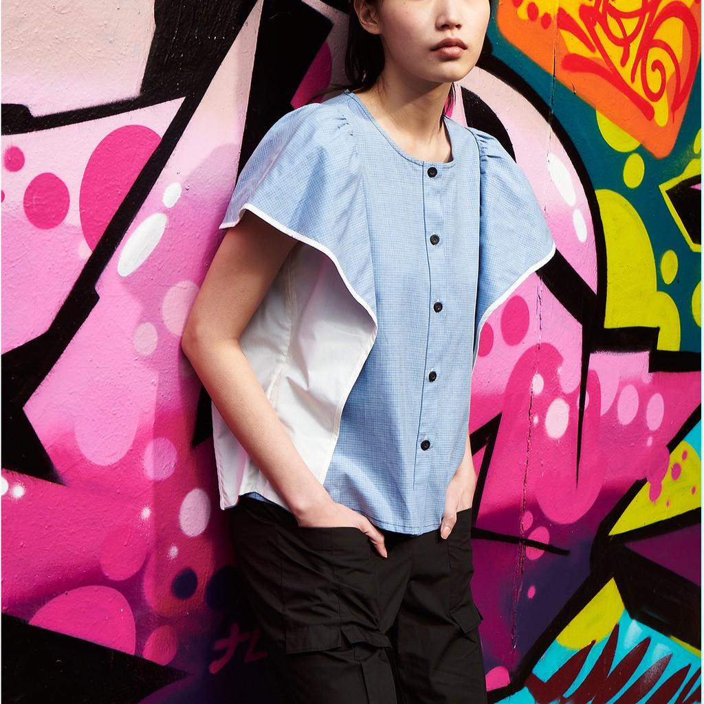 展翼荷葉蓋袖雙色拼布小圓領襯衫 兩色