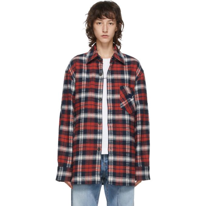Acne Studios 红色 and 蓝色法兰绒贴饰衬衫