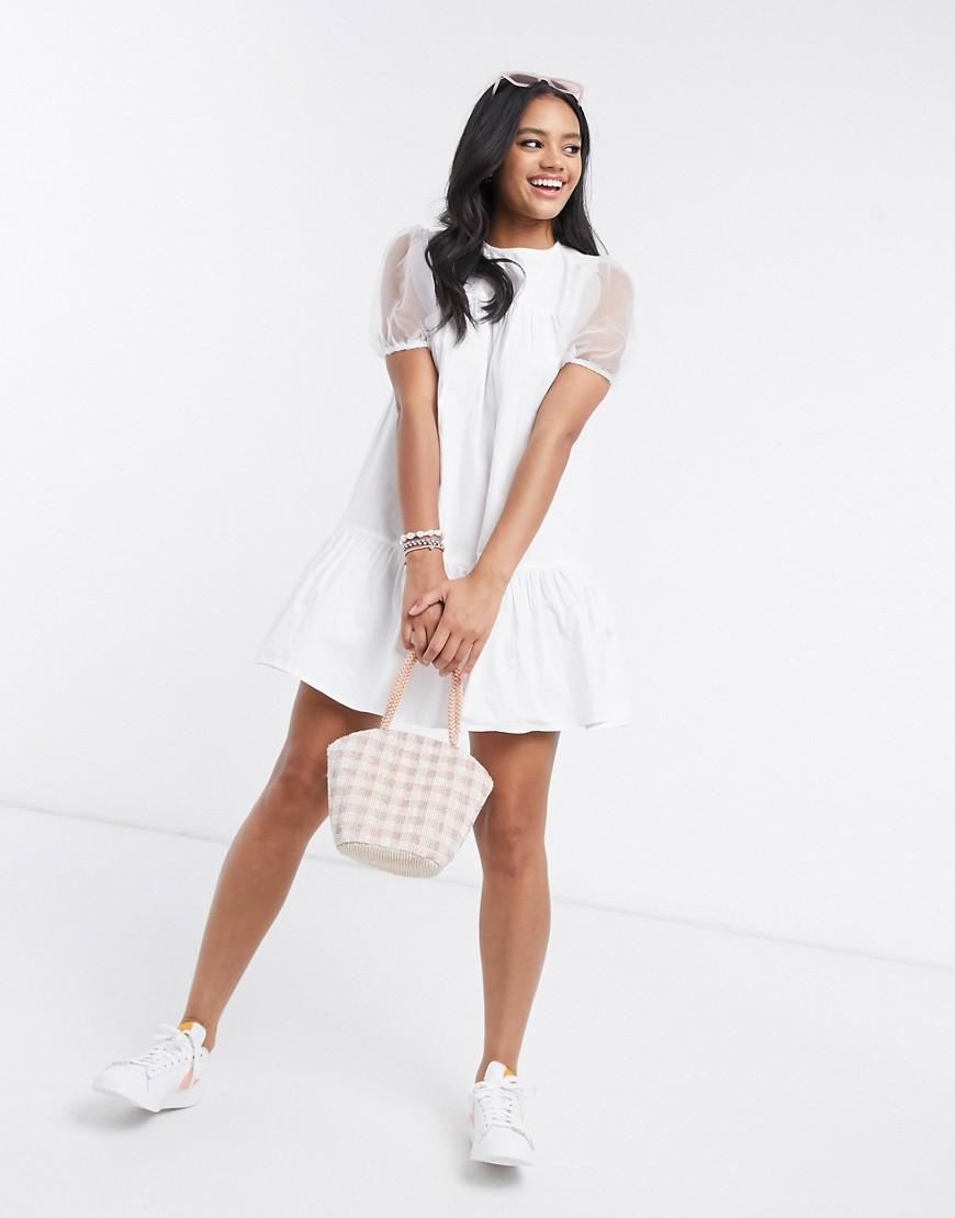 Influence cotton poplin dress wirh organza sleeves in white