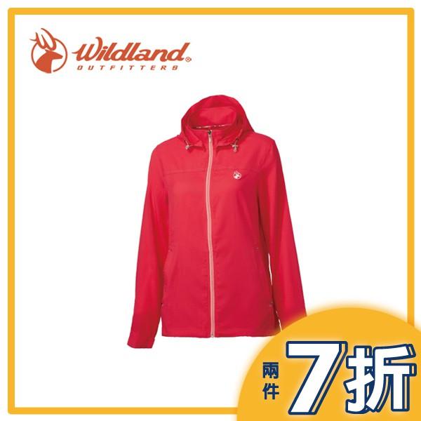 【Wildland 荒野 女 彈性抗UV輕薄外套《芙蓉紅》】0A61903-26/彈性透氣/抗UV/可拆帽/輕薄外套