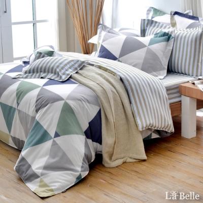 義大利La Belle 炫彩空間 加大純棉防蹣抗菌吸濕排汗兩用被床包組