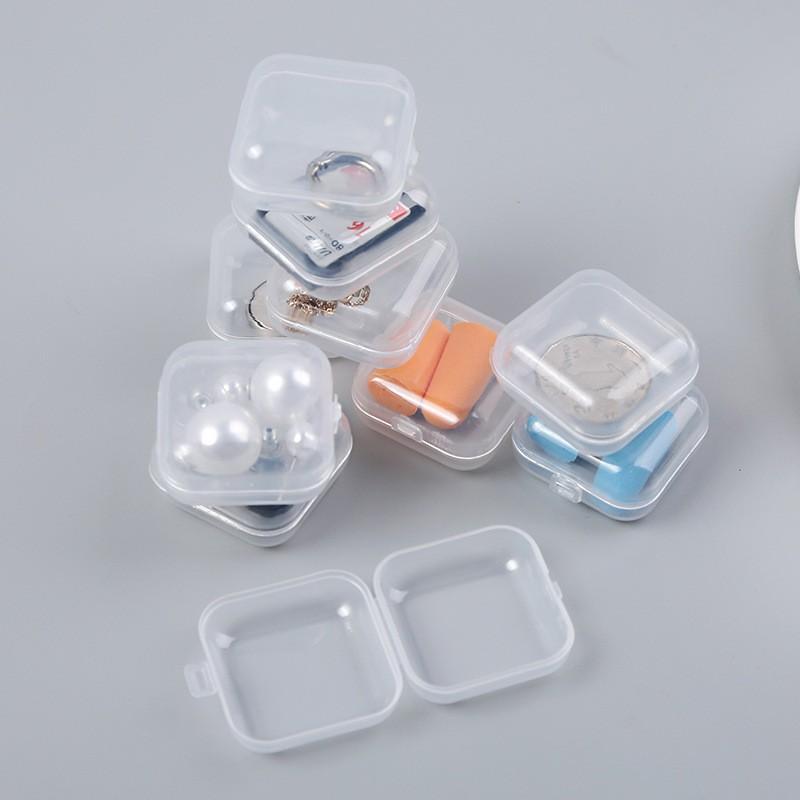 迷你收納小盒耳塞盒飾品配件盒耳堵盒塑料零件盒飾品透明正方形塑料小收納盒耳環盒戒指盒