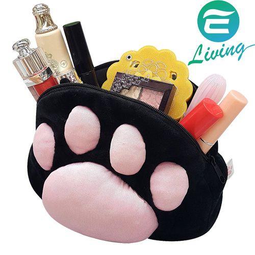日本 MEIHO 黑貓物語 可愛貓腳掌印肉球造型 黑色小袋 化妝包 ME-27