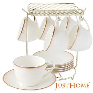 Just Home馨粉佳人高級骨瓷6入咖啡杯盤組附收納架(附禮盒)