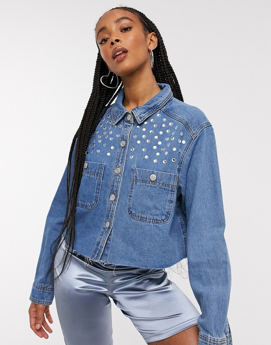 Signature 8 denim shirt with stud detail in mid wash-Blue