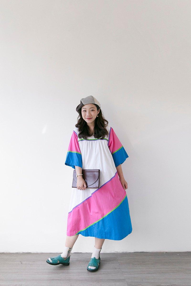 美國拼接色塊清爽白桃藍配色棉質短袖居家洋裝