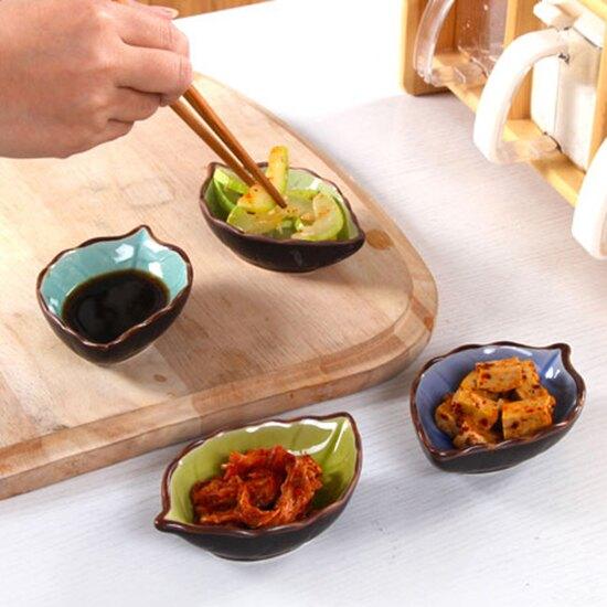 調料碟 醬油碟 醬料碟 小菜碟 小盤子 陶瓷盤 筷架 小碟子 蘸料碟 日式樹葉陶瓷碟 ♚MY COLOR♚【P007】