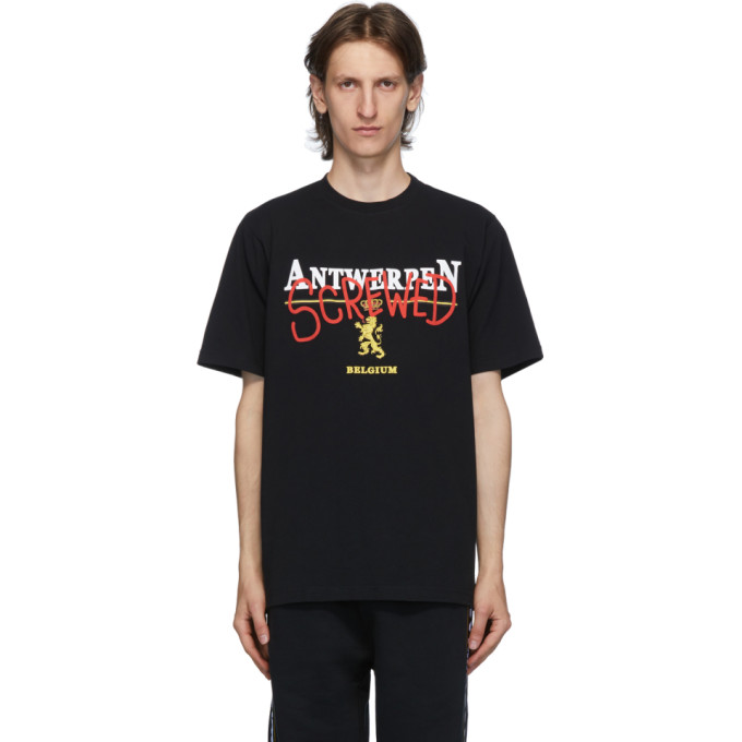 "VETEMENTS 黑色""Antwerpen Screwed"" T 恤"