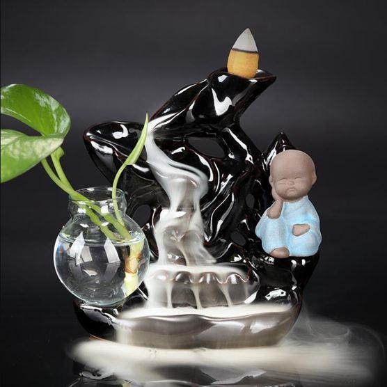 倒流香爐 陶瓷中式觀賞檀香爐家用室內禪意裝飾個性創意擺件