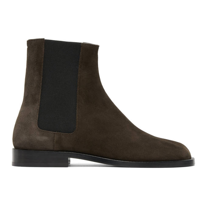 Maison Margiela 棕色 Tabi 绒面革切尔西靴
