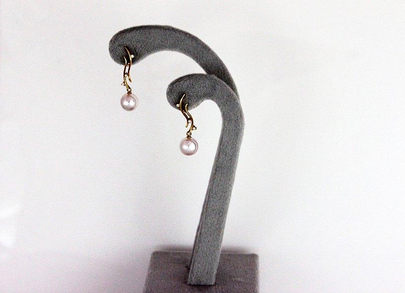 18K 7-7.5mm Akoya珍珠鑽石耳環